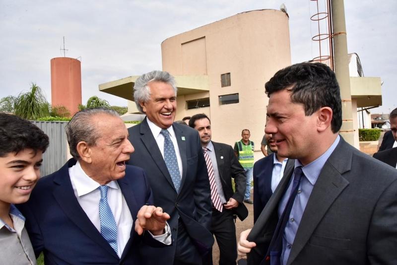 Prefeito de Goiânia, Iris Rezende; governador Ronaldo Caiado e ministro Sérgio Moro, em Goiânia (Foto: Cristiano Borges)