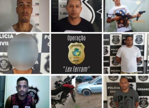 Um grupo suspeito de tráfico de drogas e homicídios em Goianésia foi preso nesta terça-feira (22), após operação da Polícia Civil (PC). (Foto: Divulgação/PC)