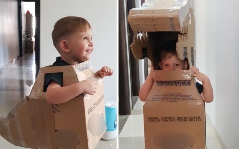 Lorenzzo Oliveira, de 2 anos, na fantasia de dinossauro. (Foto: Liliane Oliveira/Arquivo pessoal)